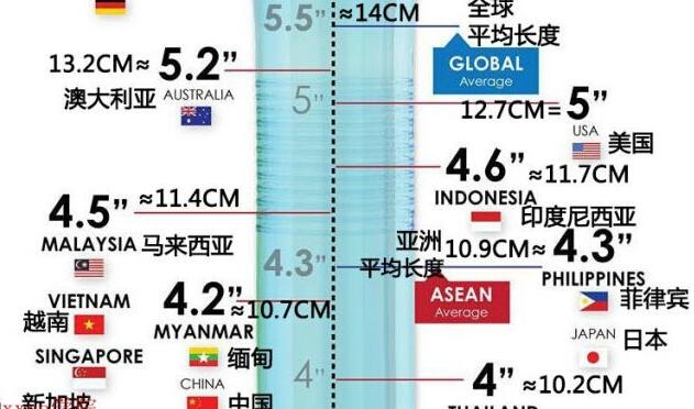 调查。 世界各地男性平均阴茎长度