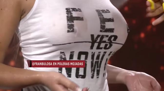 娱乐美女。Francisca Undurraga 智利电视节目上湿身演出 傲人双峰轮廓尽显 [14p]